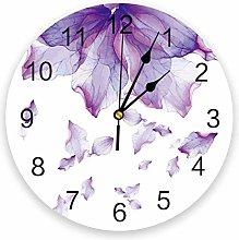 Leeypltm Numeral Clock Round,Purple Petals