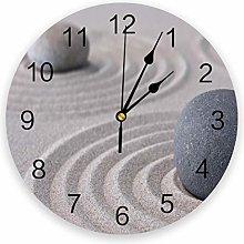Leeypltm Numeral Clock Round,Sand Stones Zen 25CM