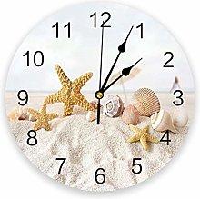 Leeypltm Numeral Clock Round,Sea Beach Starfish