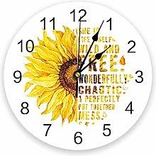 Leeypltm Numeral Clock Round,Sunflower Butterfly