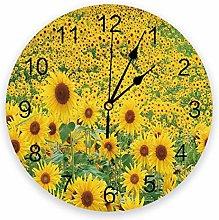 Leeypltm Numeral Clock Round,Sunflower Flower Pvc