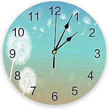 Leeypltm Numeral Clock Round,White Dandelion 25CM