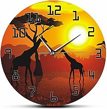 Leeypltm Sunset animals Numeral Clock Round,Non