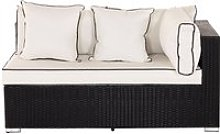 Left As You Sit Rattan Garden Sofa in Black &