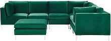 Left Hand 6 Seater Modular Velvet Corner Sofa with