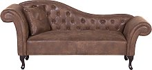 Left Hand Chaise Lounge Faux Suede Brown LATTES