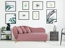 Left Hand Chaise Lounge in Pink with Storage