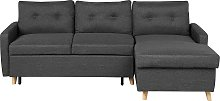 Left Hand Corner Sofa Bed with Storage Dark Grey