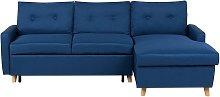 Left Hand Corner Sofa Bed with Storage Navy Blue