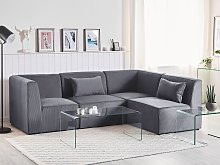 Left Hand Corner Sofa Grey Corduroy 4 Seater