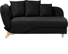 Left Hand Fabric Chaise Lounge with Storage Black