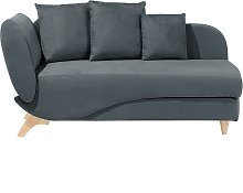 Left Hand Fabric Chaise Lounge with Storage Dark