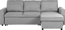 Left Hand Fabric Corner Sofa Bed with Storage Grey