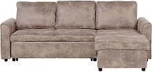 Left Hand Faux Leather Corner Sofa Bed Storage