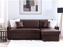 Left Hand Faux Leather Corner Sofa Bed with