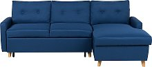Left Hand Upholstered Tufted Corner Sofa Bed with
