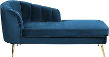 Left Hand Velvet Chaise Lounge Cobalt Blue