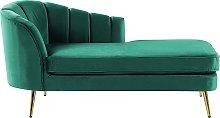 Left Hand Velvet Chaise Lounge Emerald Green