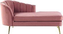 Left Hand Velvet Chaise Lounge Pink Upholstery