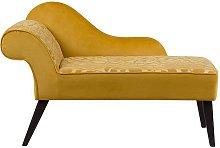 Left Hand Velvet Chaise Lounge Yellow BIARRITZ
