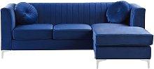 Left Hand Velvet Corner Sofa Blue Additional