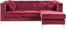 Left Hand Velvet Corner Sofa Burgundy FLEN