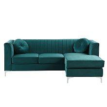 Left Hand Velvet Corner Sofa Emerald Green TIMRA