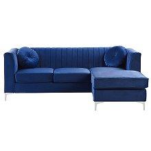 Left Hand Velvet Corner Sofa Navy Blue TIMRA