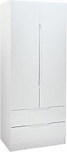 Legato 2 Door 2 Drawer Wardrobe - White Gloss