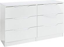 Legato 3+3 Drawer Chest - White Gloss