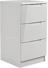 Legato 3 Drawer Bedside Table - Grey Gloss
