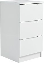 Legato 3 Drawer Bedside Table - White Gloss