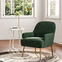 Leisure Velvet Armchair Tub Chair, Green
