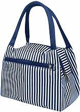 Leisure Women Portable Lunch Bag,Waterproof Stripe