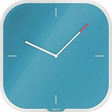 Leitz Glass Wall Clock, Cosy Range, Calm Blue,