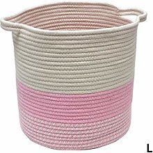 LEMAIC Cotton Rope Woven Basket with Handles,