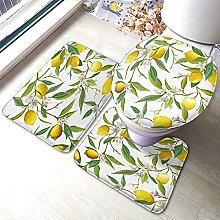 Lemon Bathmat,Lemon Fruits with Flowers and Leaves