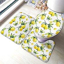 Lemon Bathmat,Watercolor Lemon Pattern 3 Piece