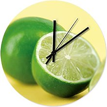 Lemon Fruit Wall Clock Wooden Cool Kitchen Clock