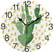 Lemon with Cactus Round Wall Clock, Silent
