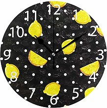 Lemon with Polka Dots Round Wall Clock, Silent