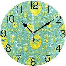 Lemonade with Sunglasses Round Wall Clock, Silent