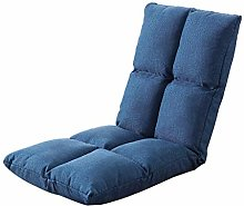 length Blue Linen Small Sofa Simple Recliner Lazy