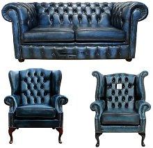 Lenny Chesterfield 3 Piece Leather Sofa Set