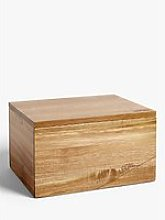 LEON Acacia Wood Bread Bin, 10L, Natural