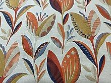 Leon Deco Flowers Orange Blue Cotton 140cm Wide