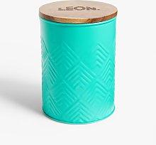 LEON Tin Storage Jar with Acacia Wood Lid, 1.5L,