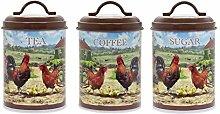 Leonardo Cockerel & Hen Tea Coffee Sugar Canister