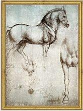 Leonardo da Vinci - Study of Horse Wood Framed