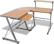 Leonetti L-Shape Computer Desk by Brown - Ebern